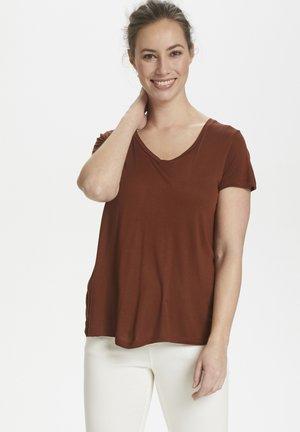 ANNA V NECK - T-shirts basic - brown