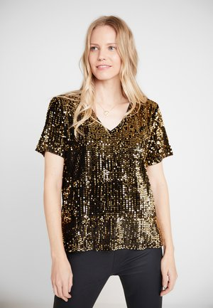 KACOLENE  - T-shirt imprimé - black deep/gold