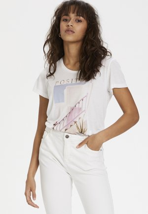 KARACHEL - T-shirt print - white w. positive print