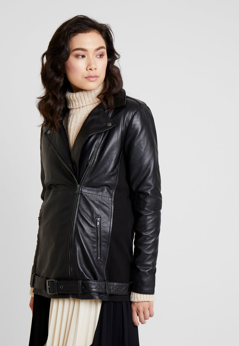 Kaffe - LINETTE - Leather jacket - black deep