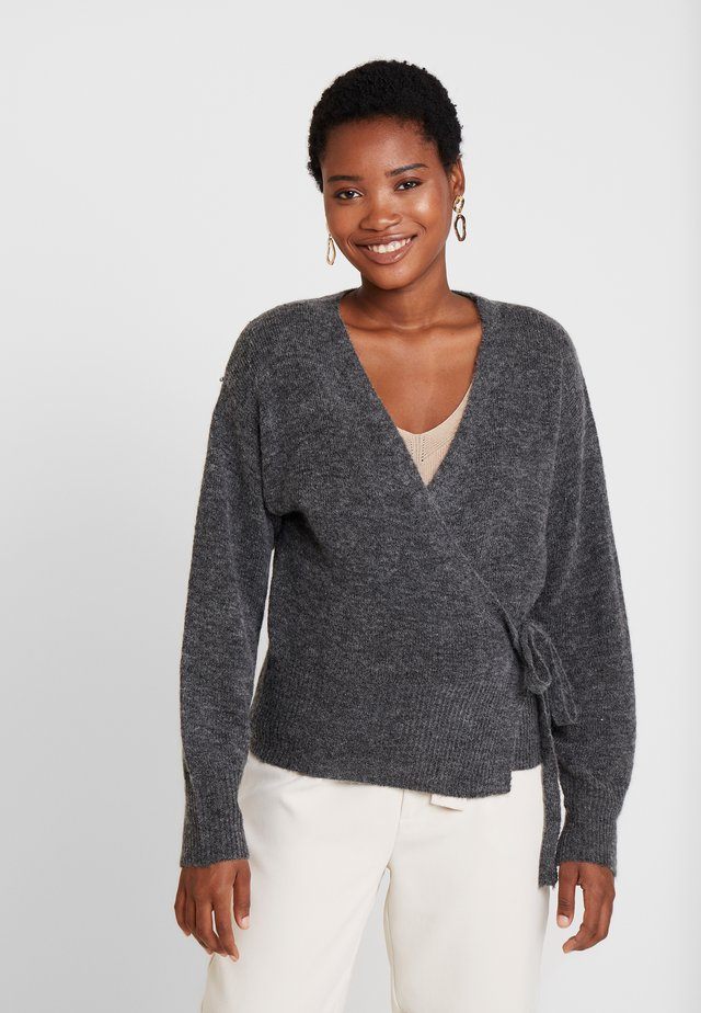 KAWENDY WRAP CARDIGAN - Kofta - dark grey melange