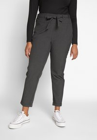 Kaffe Curve - JIA BELT PANTS - Trousers - dark grey melange - 0