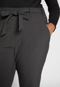 Kaffe Curve - JIA BELT PANTS - Trousers - dark grey melange - 3