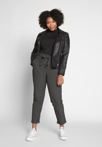 Kaffe Curve - JIA BELT PANTS - Trousers - dark grey melange - 1