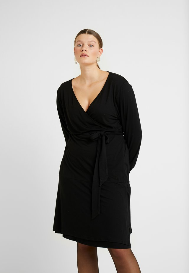 PINA WRAP DRESS - Žerzejové šaty - black deep