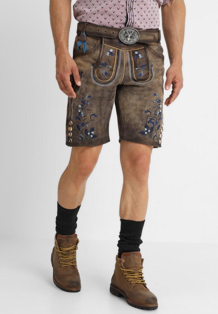 Krüger Dirndl - MIT GÜRTEL - Kožené kalhoty - braun blau