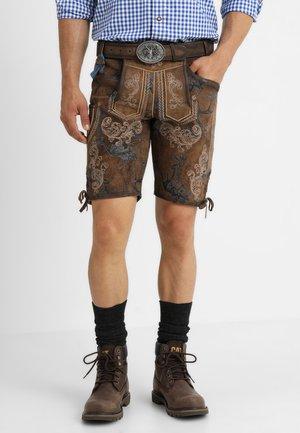 MIT GÜRTEL - Kožené kalhoty - braun