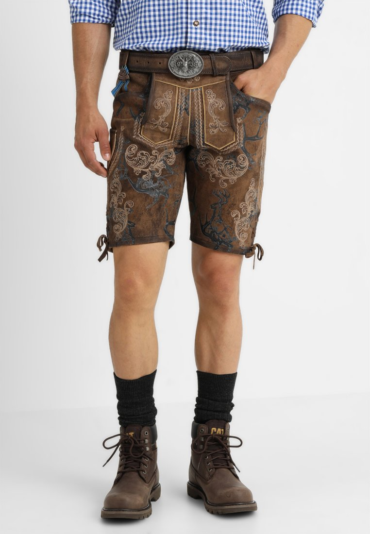 Krüger Dirndl - MIT GÜRTEL - Kožené kalhoty - braun