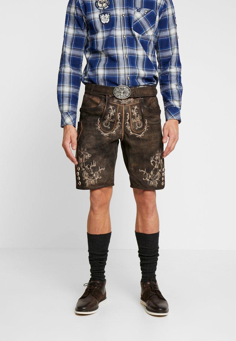 Krüger Dirndl - Pantaloni di pelle - dunkelbraun