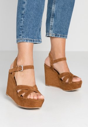 High heeled sandals - cognac