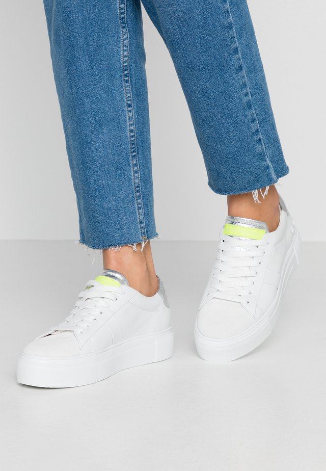 BIG - Sneakers laag - bianco/silver/neon yellow