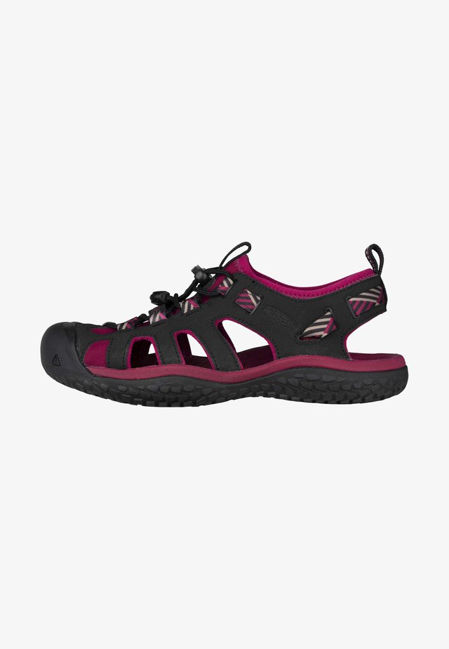 Walking sandals - raspberry wine/black