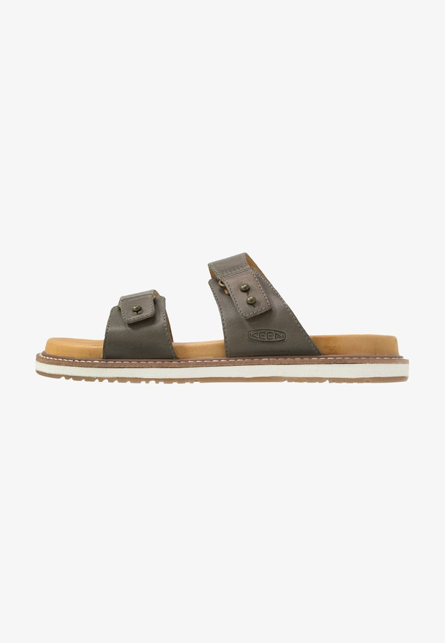 LANA SLIDE - Walking sandals - dusty olive/silver birch