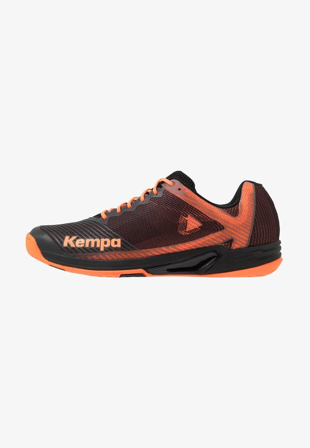 WING 2.0 - Handball shoes - black/fluo orange