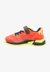 tomato red/black/fluo yellow
