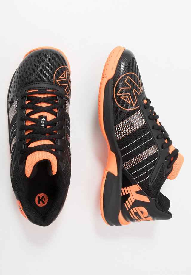 ATTACK CONTENDER JUNIOR CAUTION - Handball shoes - black/fluo orange