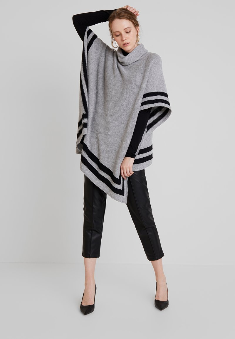 Key West - OLGA PONCHO - Cape - grey melange/black