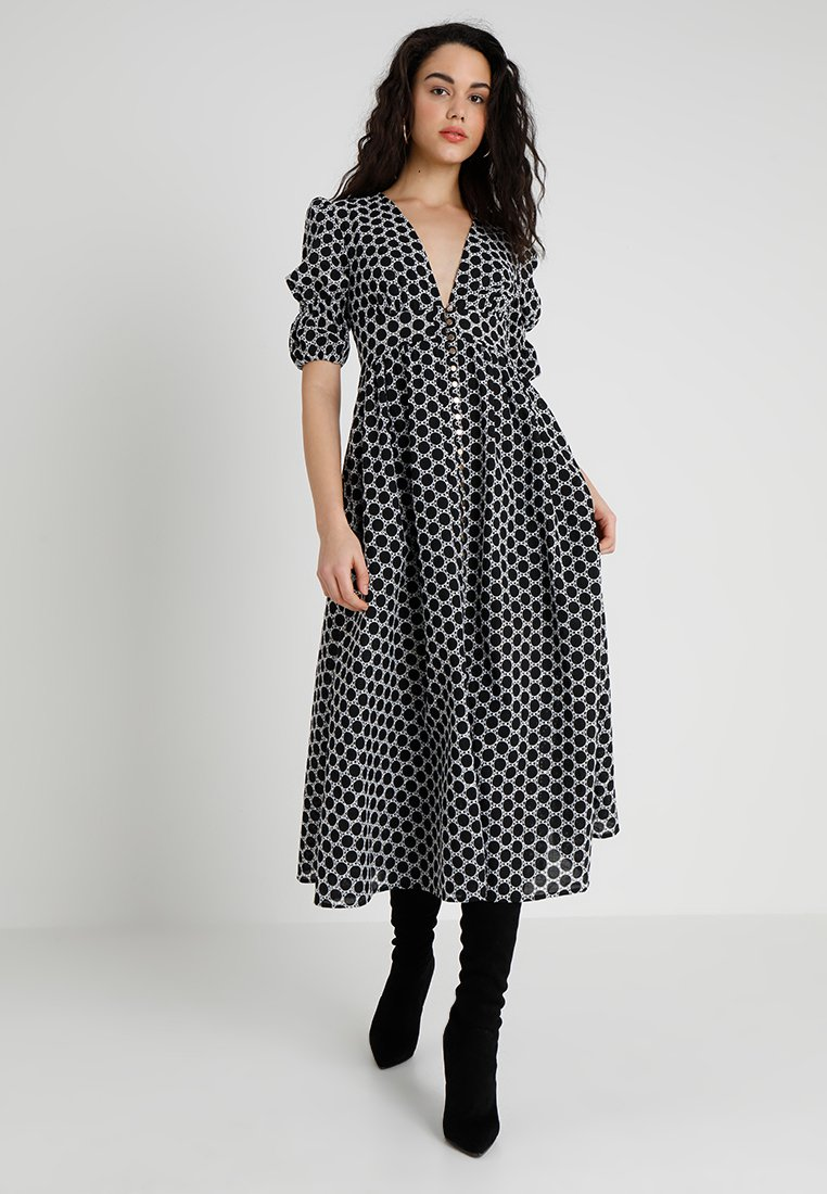 Keepsake - BELONG MIDI DRESS - Shirt dress - black/ivory