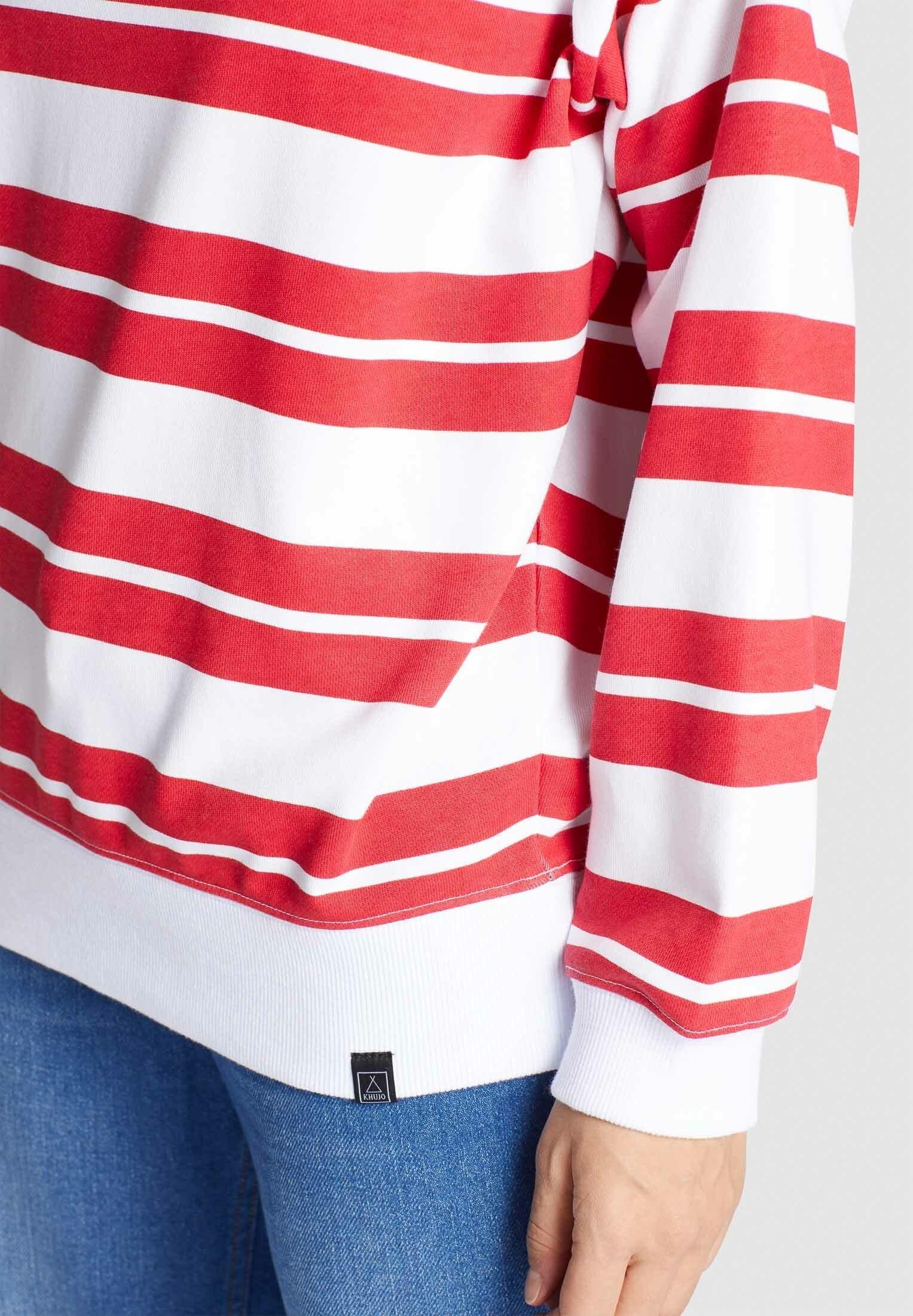 Khujo Felpa - Rot-weiß Gestreift fa6Y1