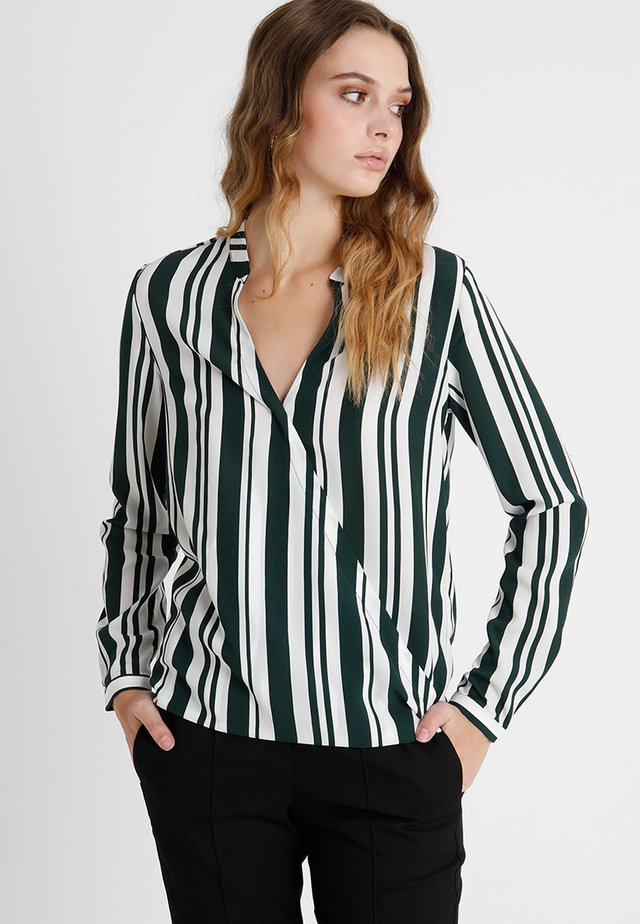 Bluse - white/dark green