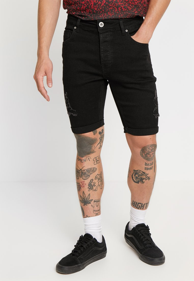 Kings Will Dream - NOTRE DISTRESSED - Shorts di jeans - black