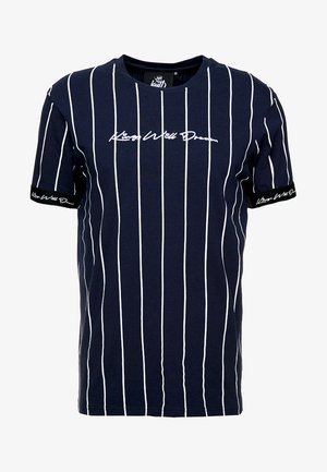 T-shirt z nadrukiem - navy/white