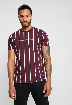 T-shirt med print - burgundy/white/navy