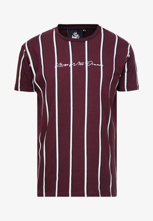 T-shirt z nadrukiem - burgundy/white/navy