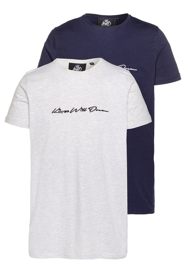2 PACK - T-shirts print - navy/grey
