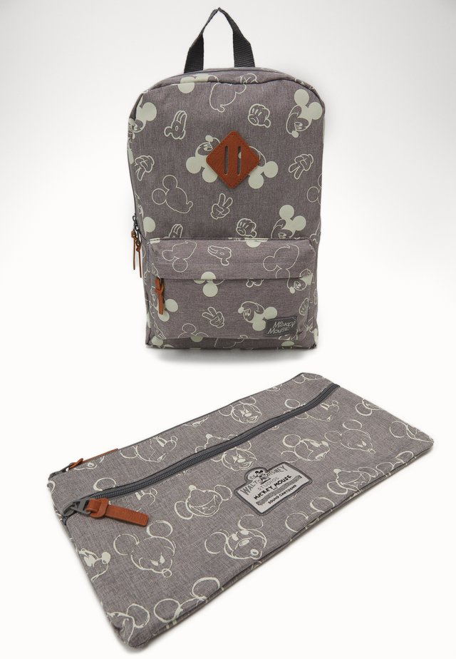 PENCIL CASE & BACKPACK MICKEY MOUSE 90TH ANNIVERSARY SET - Zestaw szkolny - grey
