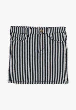 KONKRIS STRIPED SKIRT - Mini skirt - white denim/dark blue