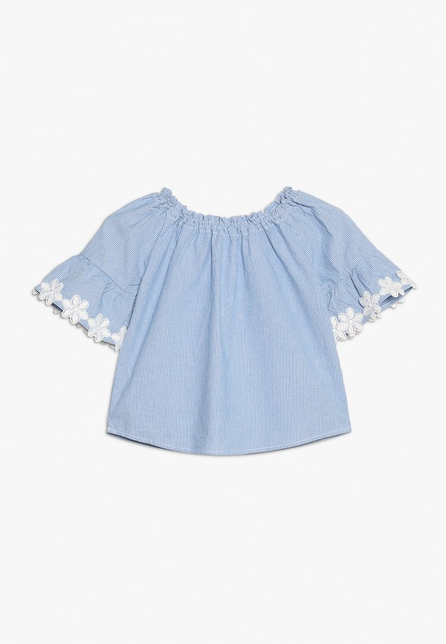 KONTYRA FLOWER TOP - Blouse - light blue denim/white