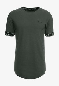 Kiez - CUFFED TEE - T-shirt imprimé - dark khaki - 3