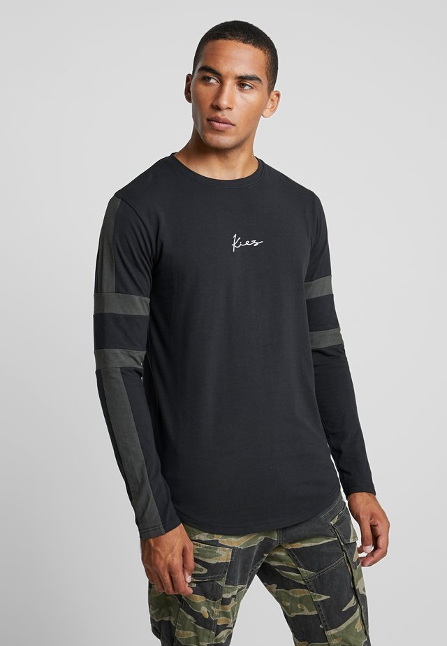 LONG SLEEVE ARM STRIPES - Bluzka z długim rękawem - black base/dark khaki