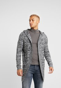 Kiez - HOODED SHAWL CARDIGAN - Vest - charcoal twisted yarn - 0