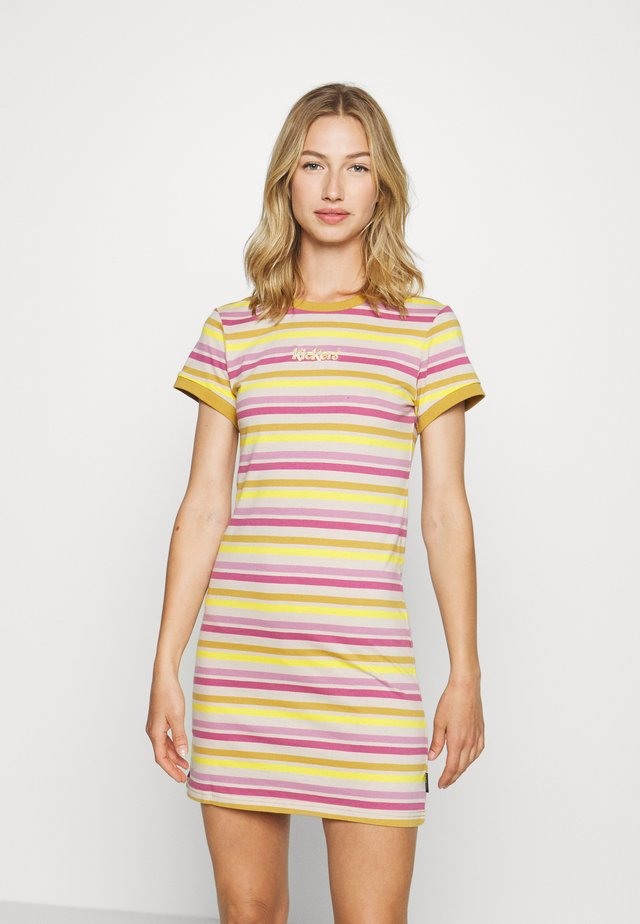 TONAL RINGER DRESS - Žerzejové šaty - yellow/pink