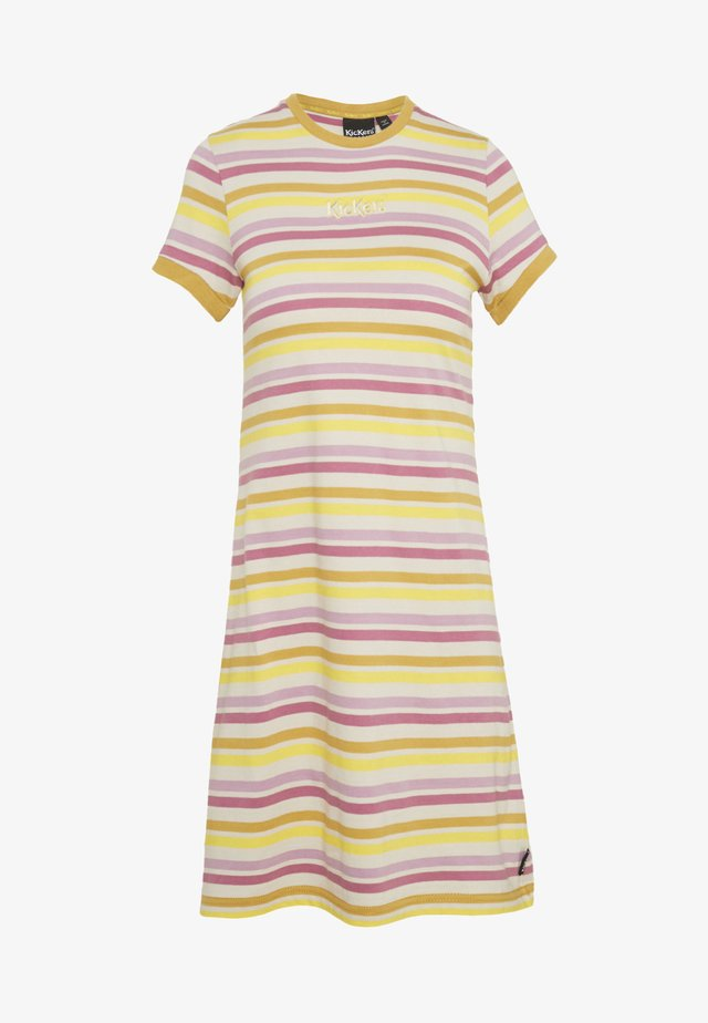 STRIPED RINGER WITH CENTRAL EMBROIDERED LOGO - Žerzejové šaty - yellow/pink