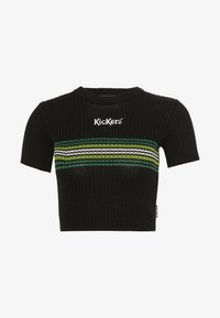 Kickers Classics - RINGER WITH TONAL CHEST STRIPE AND CENTRAL LOGO - T-shirt print - black/green - 0
