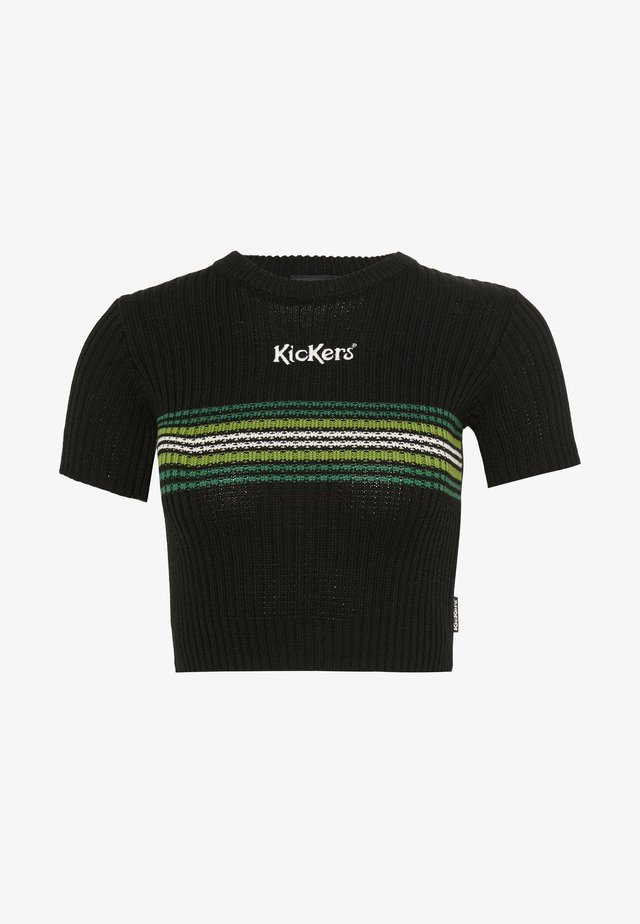 RINGER WITH TONAL CHEST STRIPE AND CENTRAL LOGO - T-shirt z nadrukiem - black/green