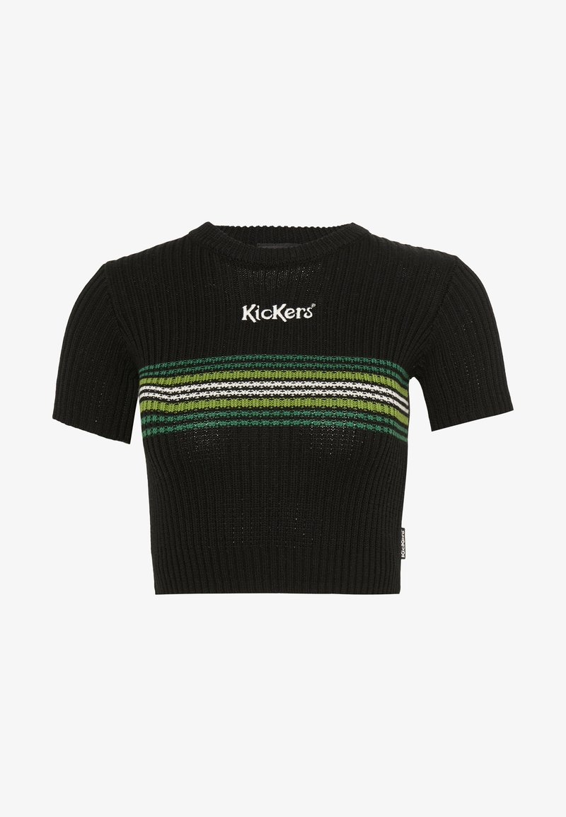 Kickers Classics - RINGER WITH TONAL CHEST STRIPE AND CENTRAL LOGO - T-shirt print - black/green