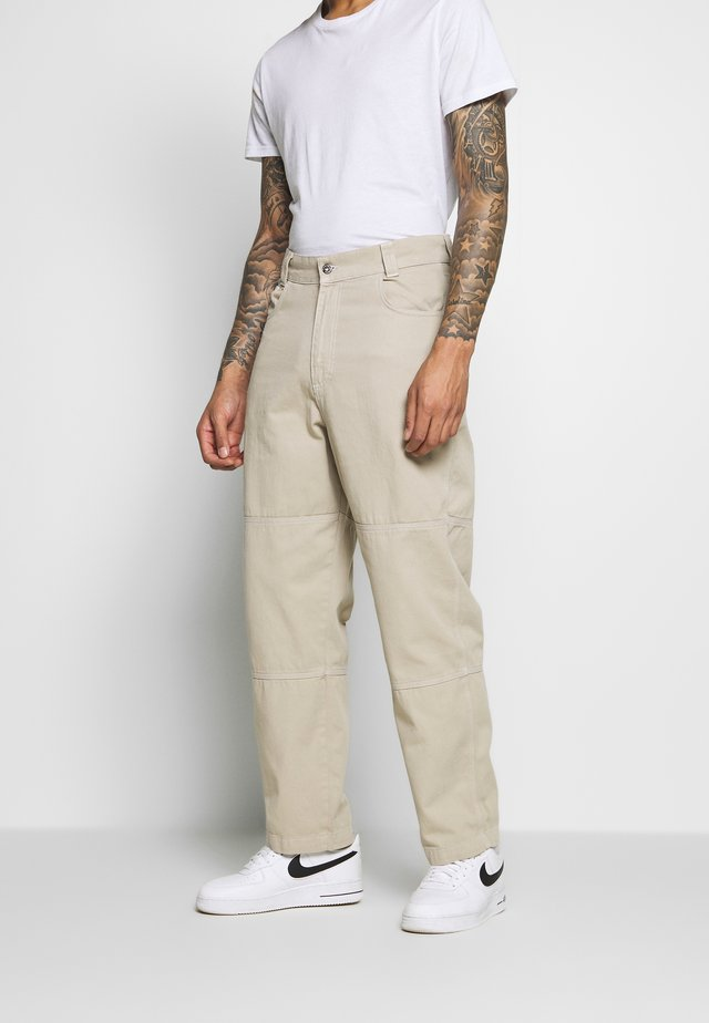 DRILL PANT WITH TOPSTITCH - Tygbyxor - beige