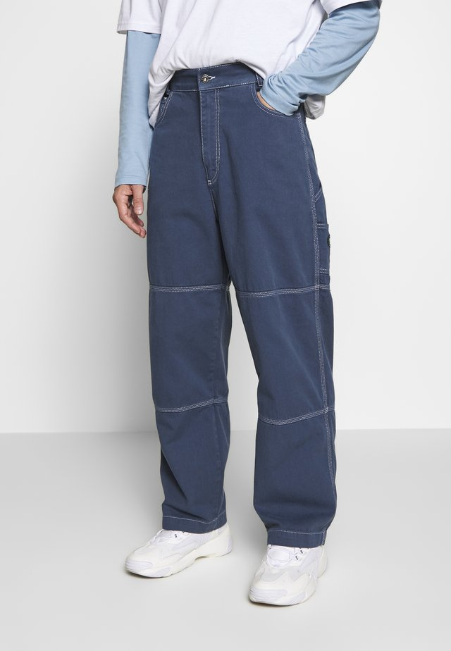 DRILL TROUSERS WITH TOPSTITCH - Tygbyxor - navy