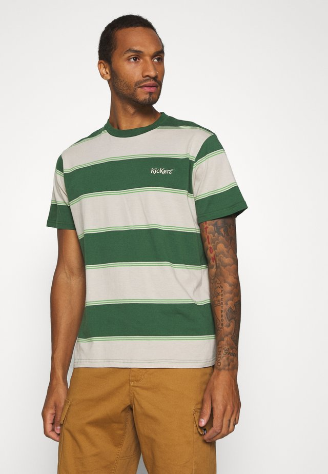 HORIZONAL STRIPE TEE - T-Shirt print - beige/green