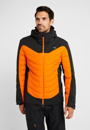 MEN SIGHT LINE JACKET - Bunda z prachového peří - black/orange