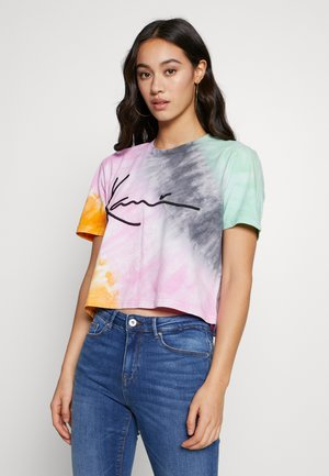 SIGNATURE GRADIENT TEE - Print T-shirt - orange/pink/black/green/red