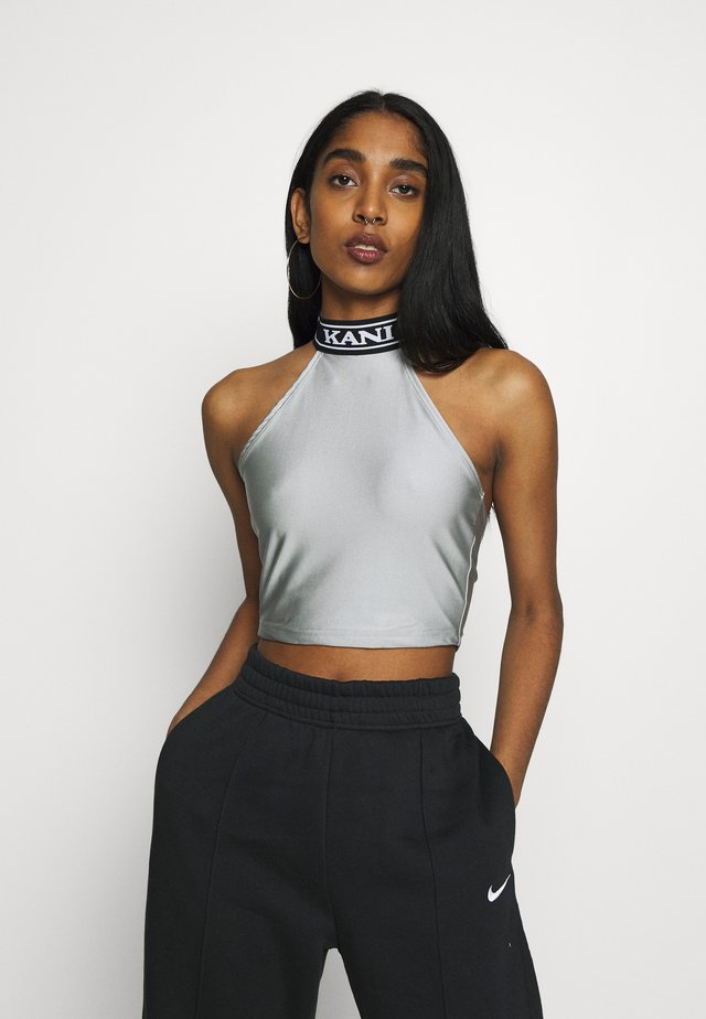 COLLEGE SLEEVELESS TOP - Top - silver/black/white
