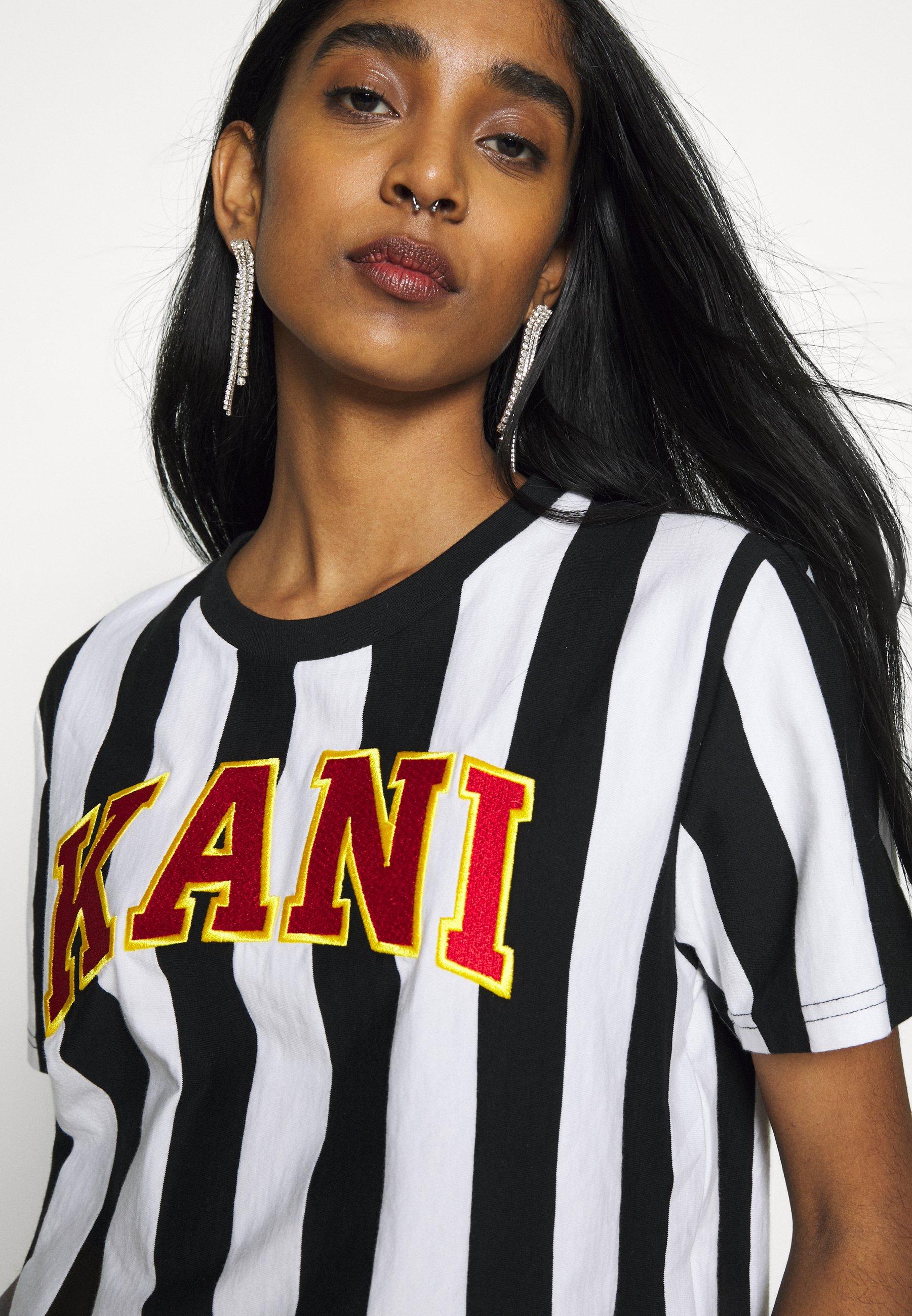 Karl Kani COLLEGE STRIPE TEE - T-shirts med print - black/white