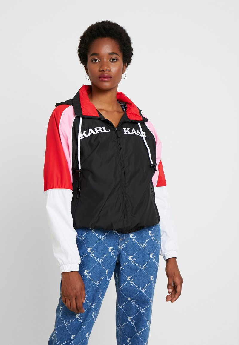 Karl Kani - RETRO BLOCK TRACKJACKET - Windbreaker - black/white/red/pink