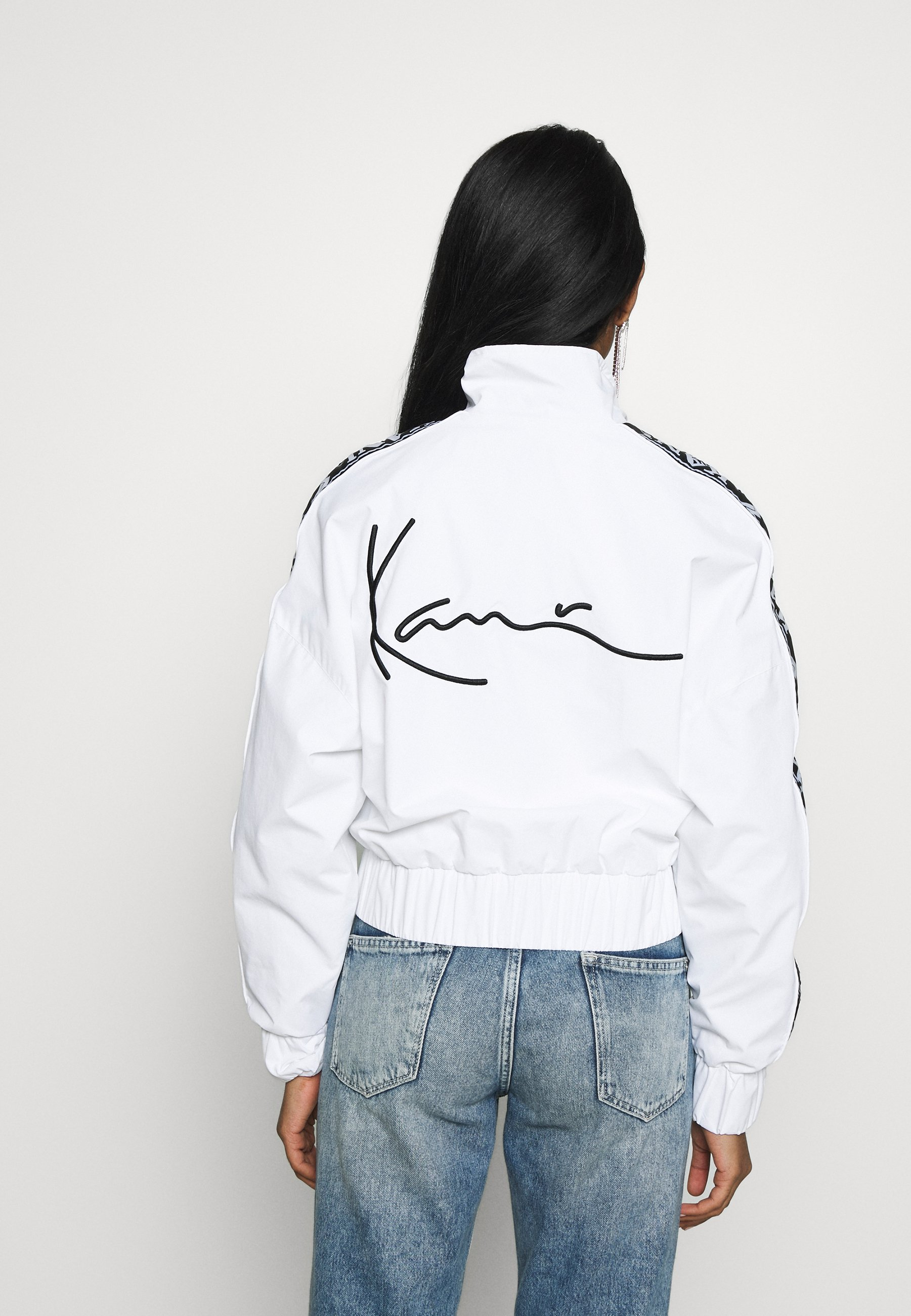 Karl Kani TAPE JACKET - Kurtka Bomber - white/black