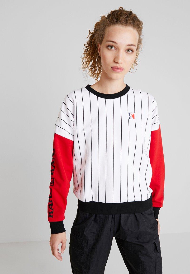 Karl Kani - RETRO BLOCK CREW - Sweatshirt - white/red/black